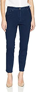 RUBY RD. womens Fly Front Knitted Indigo Twill Pant Casual Pants
