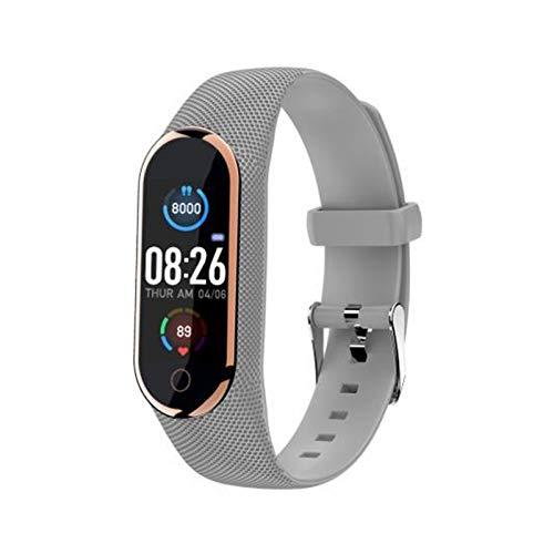 XUEXIU Bluetooth Recargable 4.0 Pulsera Inteligente Temperatura Corporal Monitor De Temperatura Cardíaca Presión Arterial Salud a Prueba De Agua Banda De Reloj (Color : Silver Gray)