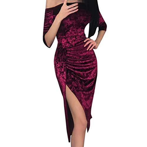 TEBAISE Damen Schulterfreies Kleid als Abendkleid Partykleid Ballkleid Maxikleid elegant glänzend und hoch geschnitten Karneval Fasching Fasnacht Businesskleid Cocktailkleider Abendkleid Partykleid