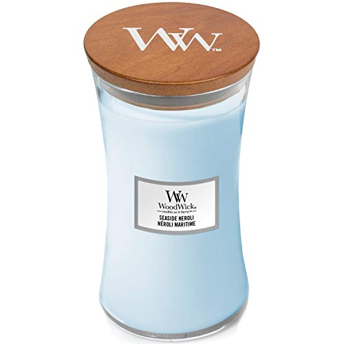 WoodWick Large Hourglass Scented Candle with Crackling Wick | Seaside Neroli | Up to 130 Hours Burn Time