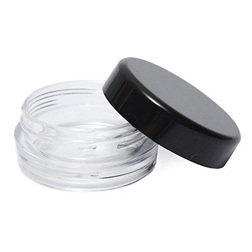 Mini Petite 3 G 3 ml Plastique Cosmétique échantillon Réservoir à 25 pcs vide de voyage rond Crème de maquillage fard à paupières poudre ongles Bijoux Perles Pot Pots avec Noir couvercles à visser