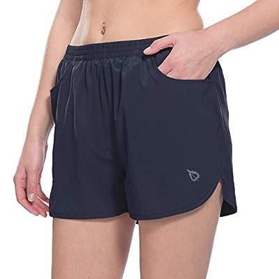 """BALEAF Women's 3"""" Running Shorts Gym Athletic Shorts Pockets Navy Size M"""