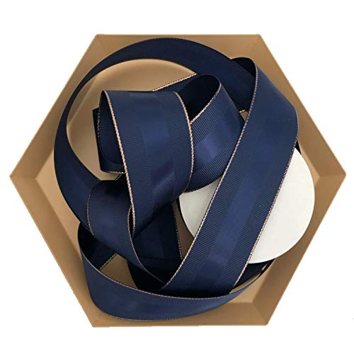 Navy Blue Grosgrain Ribbon with Rose Gold Border, 1.5 Inch, 10 Yards Per Roll, Copper Trim, Double Face, 1 1/2 Inch, Finely Woven Premium Fabric Ribbon for Corporate Gifts, Men's Gifts, Flower Bouquet