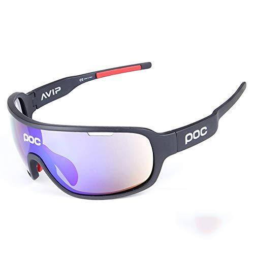 OPOLLY Stylische Outdoor-Radtour in polarisiertem Glas-/TR90-Material, resistent gegen Schlagsport Goggles/Enthält fünf Objektive,D