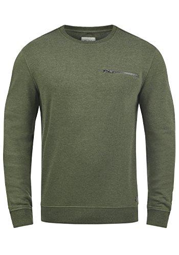 Blend Jesper Herren Sweatshirt Pullover Pulli Mit Rundhalsausschnitt Und Brusttasche, Größe:L, Farbe:Dusty Olive Green (77203)