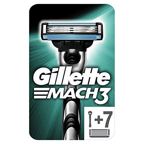 Gillette Mach3 Regolabarba Uomo, Rasoio a Mano Libera, 7 Lamette da Barba da 3 Lame, Facile Risciacquo, Ottimo Scorrimento con Gel Lubrificante, Fino a 15 Rasature con 1 Testina