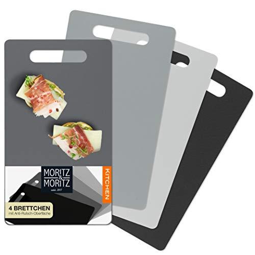 Moritz & Moritz 4x Tabla de Cortar Cocina 25 x 14,5 cm - Tabla Cortar Plástico - Apta para Lavavajillas - Superficie Antideslizante para un Corte Seguro y con asa de Agarre