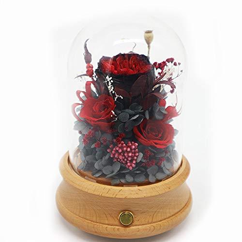 ZHAO ZHANQIANG Altavoz Bluetooth Preservado Flor de Rosa Vidrio Inmortal Flor de...