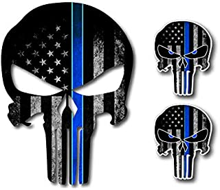 3 Pack Thin Blue LINE Punisher Skull American Flag Police Officer Blue Lives Matter Sniper Vinyl Decal Stickers Car Truck Sniper Marines Army Navy Military Jeep Graphic