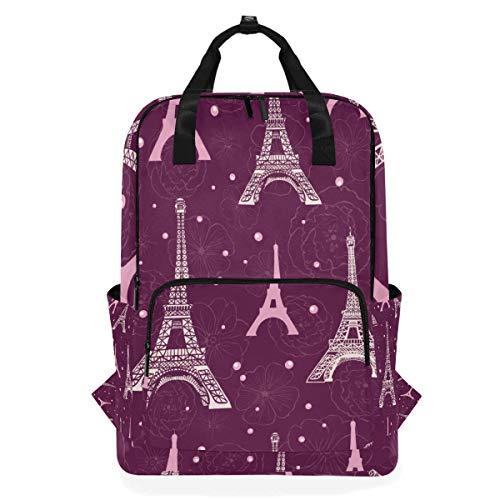 ZOMOY Rucksäcke,Vektor purpurroter rosa Eifel Turm Paris,Neue lässige Laptop leichte Tagesrucksack Leinwand College School Travel Umhängetasche Camping Klettern Wandern Taschen