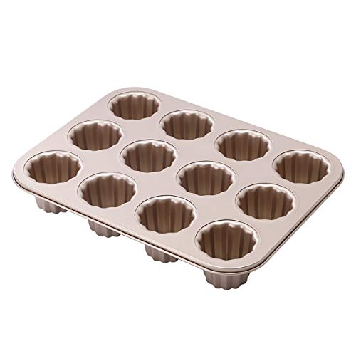 FANQIE Non-Stick Canele Molds Baking Pans for Cupcakes, 12 Cavities Custard Muffin French Non-Stick Cake Pan, Baking Tool