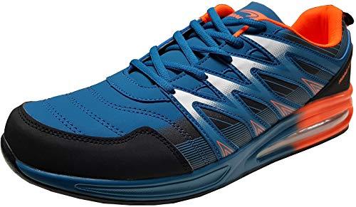 gibra® Herren Sneaker Sportschuhe Turnschuhe Übergröße, blau/Neonorange, Art. 6547, Gr. 48