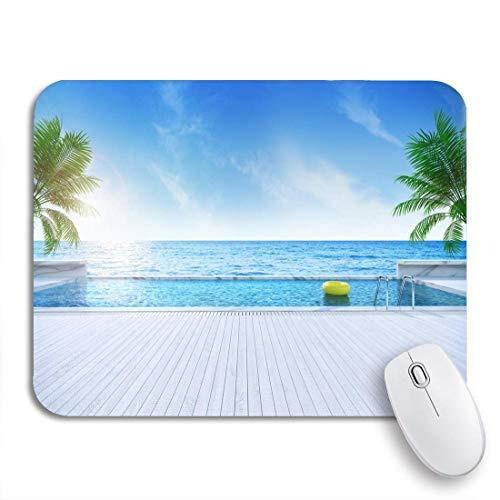 Gaming mouse pad entspannende sommer sunbathing deck und privater pool in der nähe von rutschfesten gummi backing computer mousepad für notebooks mausmatten