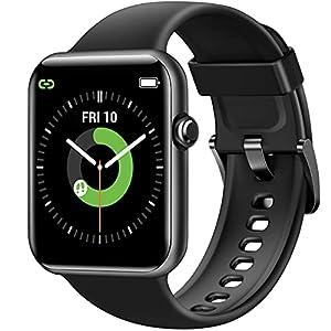 Letsfit Smartwatch, 1.55 Zoll Fitnessuhr mit Schrittzähler, Fitness Tracker mit Pulsuhr Schlafmonitor und Blutsauerstoffsättigung, 5ATM Wasserdicht Sportuhr Smart Watch für Damen Herren, Schwarz