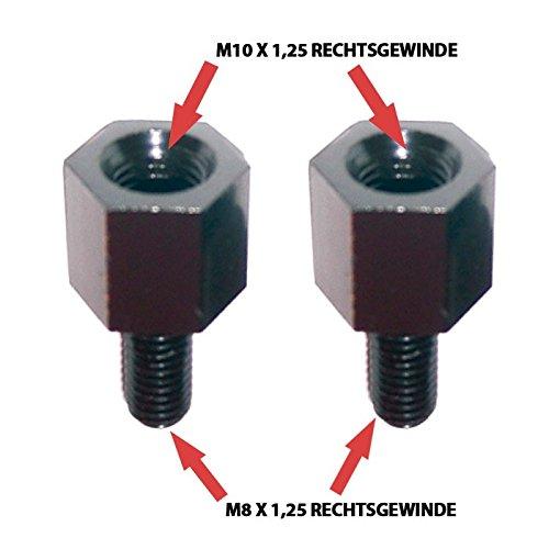 Motorrad Spiegeladapter Rechtsgewinde, M10 auf M8 x 1, 25, schwarz, Paar /Paar