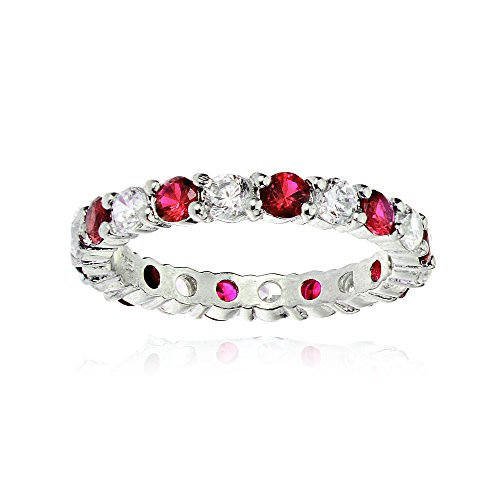 Ice Gems Sterling Silver Created Ruby and Cubic Zirconia Wedding Band Ring, Size 7