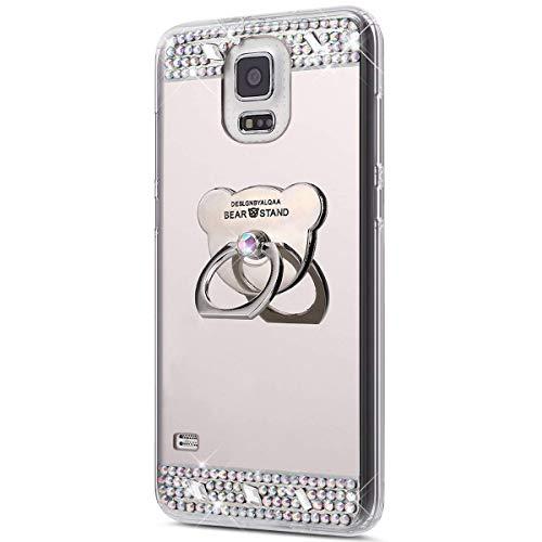 Urhause Kompatibel mit Samsung Galaxy S5 hülle,Spiegel Glitzer Hülle mit Bärenform Ring Strass Diamant TPU Silikon Transparent Schutzhülle Backcover Handyhülle 360 Grad Ring Case Holder hülle,Silber