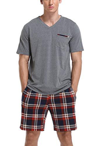 Vlazom Conjunto de Pijamas para Hombres Ropa de Dormir de Verano de Algodón Tops y Pantalones Cortos de Manga Corta Ropa de Salón