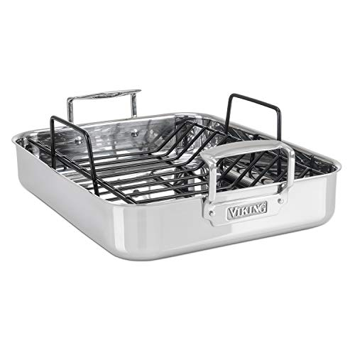 Viking Culinary Roaster/Roasting Pan, 16 x 13 x 3 inches, Silver