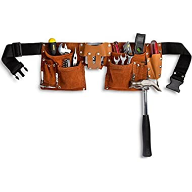 11 Pocket Leather Construction Tool Belt, Work Apron, with Adjustable Poly Web Belt Quick Release Buckle