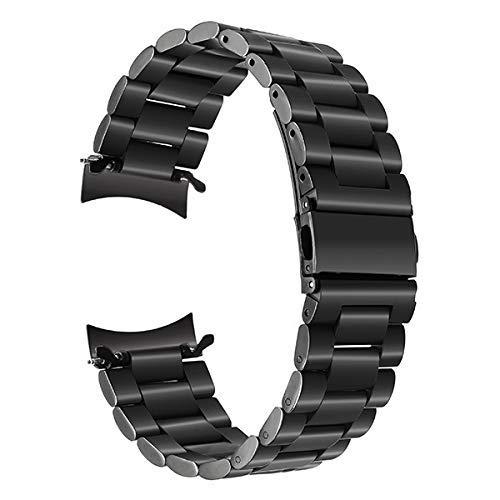 ZJSXIA Correa de reloj de acero inoxidable de 22 mm, correa de liberación rápida para Gear S3 Classic Frontier muñequera pulsera negra y plateada (color: -, tamaño: negro)