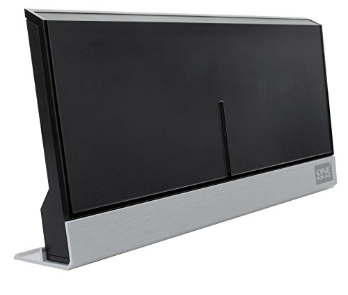 One For All DVB-T/DVB-T2 Indoor/Zimmerantenne - 4K 1080P HD/HDTV Fernseher TV Antenne mit Verstärker - 0-25 km Reichweite – 1.5 meter Koaxialkabel - UHF - Schwarz - SV9385
