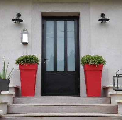 EDA PLASTIQUES - Pot pour fleur Toscane bac carré intérieur extérieur balcon H.65 cm rouge EDA PLASTIQUES - article : Rouge rubis