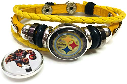 NFL Pittsburgh Steelers Player Logo Yellow Leather Bracelet W/2 Snap Jewelry Charms