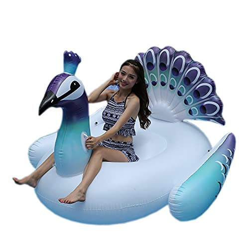 大きな膨脹可能な青い孔雀のプールのフロートフロートライドの速いバルブで乗る大きい隆起可能な爆発夏のビーチプールパーティーラウンジラフトの装飾のおもちゃ子供大人
