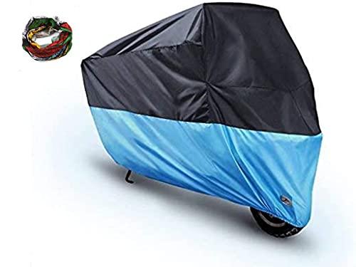 Manfâ Cubierta de Motocicleta Cubierta Impermeable para Motocicleta, Cubiertas de Motocicleta Ohuhu para Todas Las Estaciones con Orificios de Bloqueo, XXL, Negro-Azul