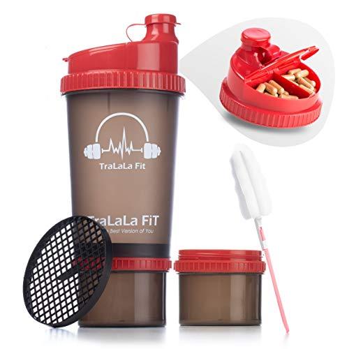TraLaLa Fit Shaker de 700 ml - sin BPA Botella mezcladora de proteínas clásica - con caja de proteínas Twist and Lock