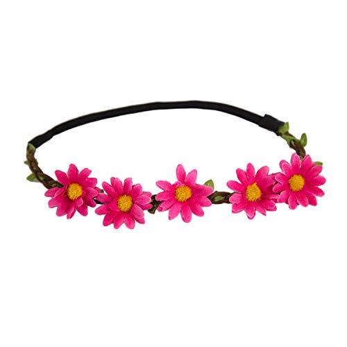 Oblique-Unique® Blumen Haarband Stirnband Blumenkranz Haarschmuck Kopfschmuck Bohemia Style Mädchen Damen - Farbe Wählbar (Pink)