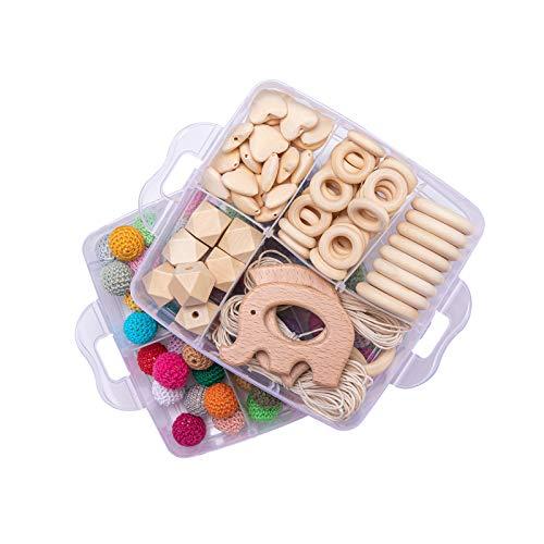 Mamimami Home 2PC Baby Teether Holz Diy Tier Rassel organischen Teether Dschungel Spielzeug Holz Waldorf Spielzeug Holz Teether Halskette/Armband DIY Zubehör