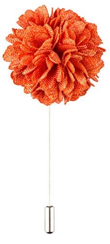 Product Proper Rosso e Arancione Poliestere Patterned Garofano Fatto a Mano Risvolto Spilla Fiore All'Ochiello Per Completo Da Uomo
