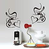 Simétrico Doble Amor Corazón Tazas de café Taza Etiqueta de la pared Vinilo Arte Calcomanía Sala de estar Comedor Restaurante Oficina Cocina Decoración para el hogar Mural