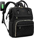 LOVEVOOK Laptop Backpack for Women Fashion Business Computer Backpacks Travel Bags Purse Student Bookbag Teacher Doctor Nurse Work Backpack with USB Port Fits 17-Inch Laptop, Black