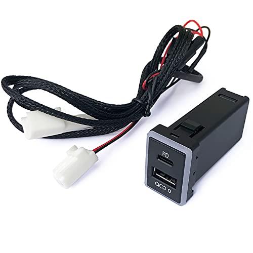 増設 カーチャージャー PDポート QC3.0ポート 2ポート 車載充電器 LEDブルーライト USB-A USB-C TypeA TypeC タイプA タイプC PD対応 急速充電 ウィッシュ 20系 WITH