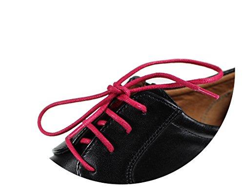 Loco!Laces- Gewachste, bunte, farbige, runde Schnürsenkel für Business-Schuhe! 80cm Länge 3er Pack (3x Rot)