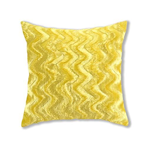 Fundas de almohada de felpa, estilo simple, cuadradas, súper suaves, fundas de cojín, fundas de almohada, decoración creativa del hogar, para sofá, cama, silla (dorado, 43 x 43 cm)