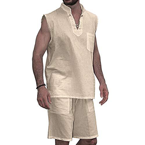 iHHAPY 2 Piece Outfits Men's Fashion T-Shirt Tee Hippie Short Sleeve Shorts Set Beach Shirt Shorts Suit Yoga V Neck Khaki