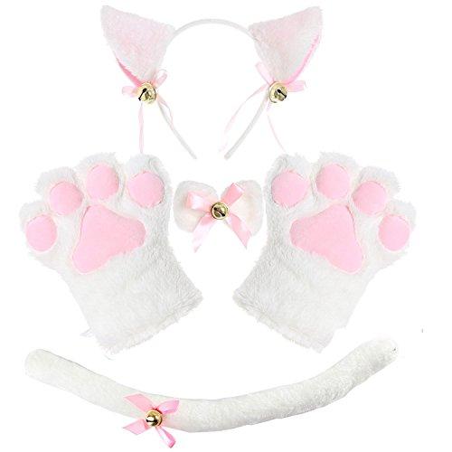 Disfraz de Gato Adulto con Orejas, Collar y Guantes, Disfraz de Lolita gótico - Blanco - Talla única