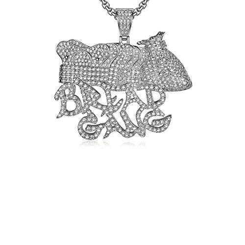 MKHDD Hip Hop Bling Lab Diamant Iced Out CZ Brot Gang Anhänger Halskette Krone Gold Silber Farbe Charme Punk Schmuck Geschenk,Silver