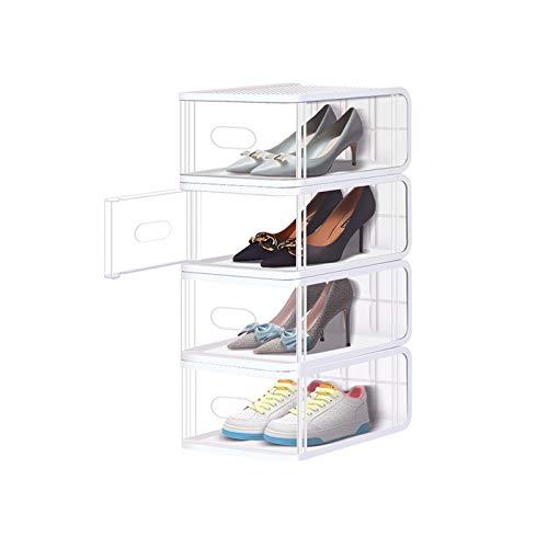 Zapatero Caja de zapatos apilable zapato cajas de almacenamiento organizador robusto plástico puerta y tapas cajas de zapatos transparentes conjunto de 8 Organizador para Zapatos ( Color : White )