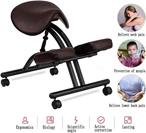 Silla de postura ergonómica de rodillas, taburete de piel ajustable para el hogar con ruedas, mejora la postura y alivia el dolor de espalda y cuello, para oficina en casa, color marrón oscuro