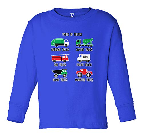 Types of Trucks - Garbage Monster Fire Long Sleeve Toddler Cotton Jersey Shirt (Royal Blue, 3T)