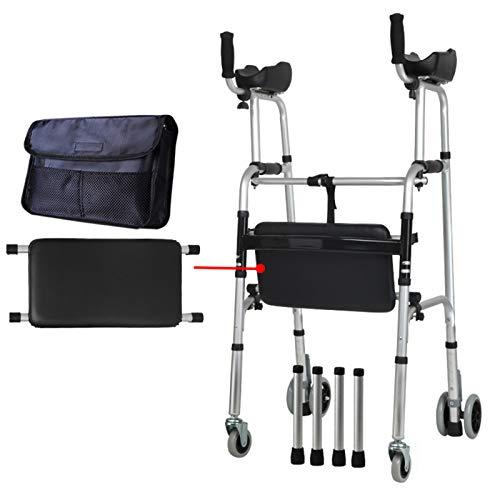 Rollator con 4 Ruedas Ayuda para Caminar Andador Caminador, Andador para Ancianos y Minusválidos, Aluminio, Ligero, Plegable,Typ12See Description