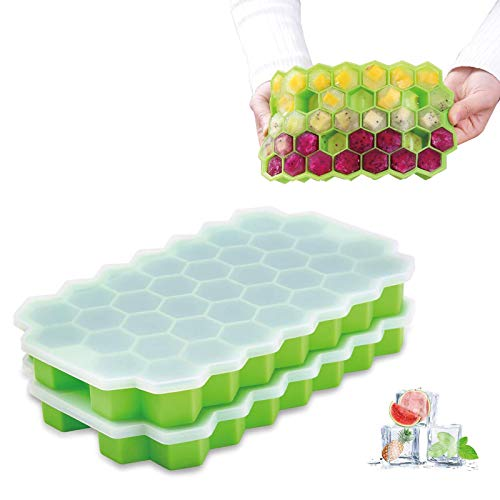 Sooyee Ice Cube Trays with Lids, 2 Pack Silicone Ice Cube Molds with Lid Flexible 74-Ice Trays BPA Free, for Whiskey, Cocktail, Stackable Flexible Safe Ice Cube Molds