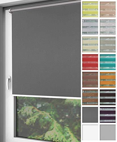 Home-Vision® Verdunkelungsrollo Klemmfix, ohne Bohren mit Klämmträgern, Fensterrollo, Seitenzugrollo, Verdunklungsrollo, Lichtundurchlässig Thermorollo (Graphit, B50cm x H220cm)