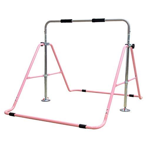 MRG 鉄棒 折りたたみ 高さ調節 家庭用 子ども用 専用グリップ付き TOKUBOU 室内用 屋外使用可 [逆上がり保証制度] (ピンク)
