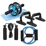 AWP Bauchmuskeltrainer Pro mit Liegestützgriffen, Sprungseil und Knieschoner multi